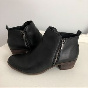 """Lucky Brand Shoes - Lucky Brand """"Basel Flat Leather Bootie"""" in Black"""